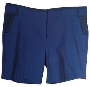Vera Wang Woven: 69% Rayon 27% Nylon 4% Spandex Knit: 75% Polyester 20% Rayon 5% Spandex Dress Shorts Navy Blue with black