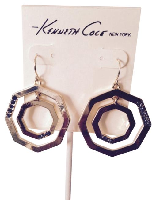 Item - Gold/Black Gold-tone Octagon & Crystal Earrings