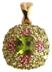 14k Gold Peridot and Pink Tourmaline Pendant.