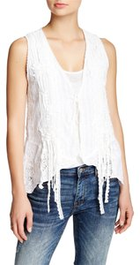 Johnny Was Embroidered Boho Lace Trim Top White