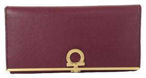 Salvatore Ferragamo Savatore Gancini Icona Continental Corniola Wristlet in Red