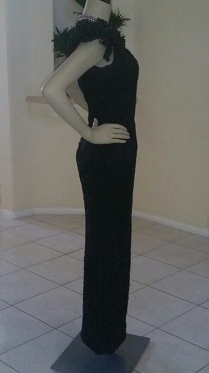 Black with Alencon Lace Polyester W/ Custom-made Formal Bridesmaid/Mob Dress Size Petite 4 (S)