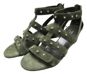 Gucci Suede Green Suede Gladiator Wedge Studded Dark Green Sandals