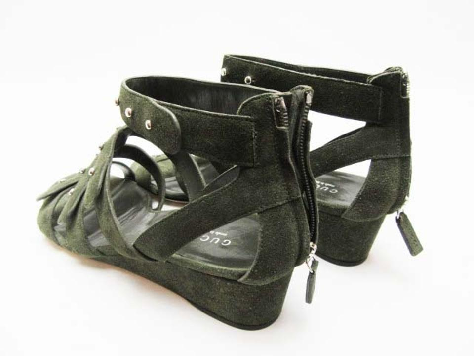 907707148c3 Gucci Suede Suede Gladiator Wedge Studded Dark Green Sandals Image 11.  123456789101112