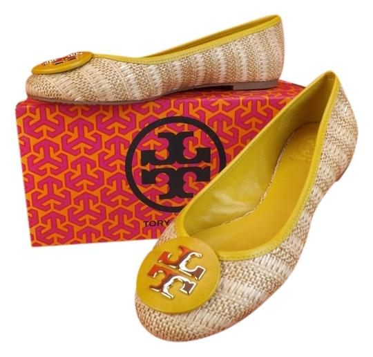 Preload https://item3.tradesy.com/images/tory-burch-soleil-yellownatural-leather-straw-raffia-big-gold-reva-ballet-flats-size-us-95-regular-m-4240282-0-0.jpg?width=440&height=440