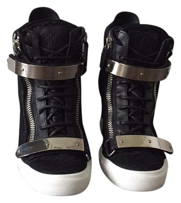 Item - Black with Silver Hardware Wedge Sneakers Size US 9 Regular (M, B)