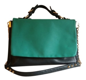 Cesca Polyester Pleather Gold Chain Spike Satchel in Green