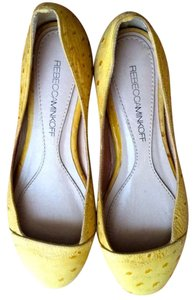 Rebecca Minkoff Ostrich Embossed Yellow Leather Flats