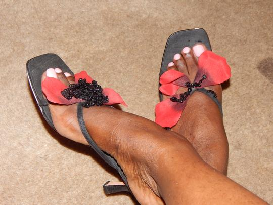 Lily Holt Black and Red Sandals