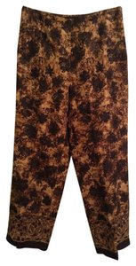 Dana Buchman 68% Linen 32% Silk Straight Pants Brown, Tan, with Black floral print