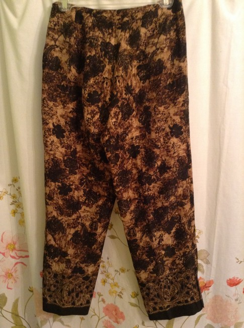Dana Buchman 68% Linen 32% Silk Lining: 100% Acetate Dry Clean Only Straight Pants Brown, Tan, with Black floral print