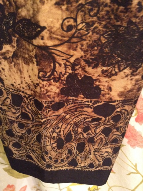 Dana Buchman 68% Linen 32% Silk Lining: Acetate Dry Clean Only Straight Pants Brown, Tan, with Black floral print