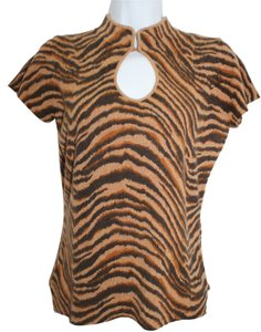 Neiman Marcus Animal Print Cashmere Top