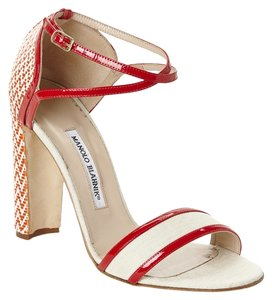Manolo Blahnik Cream/Red/Orange Sandals