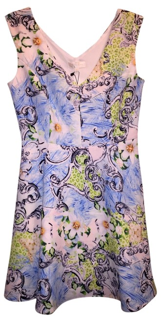MM Couture short dress Blue, White, Black Green Multi-Floral on Tradesy