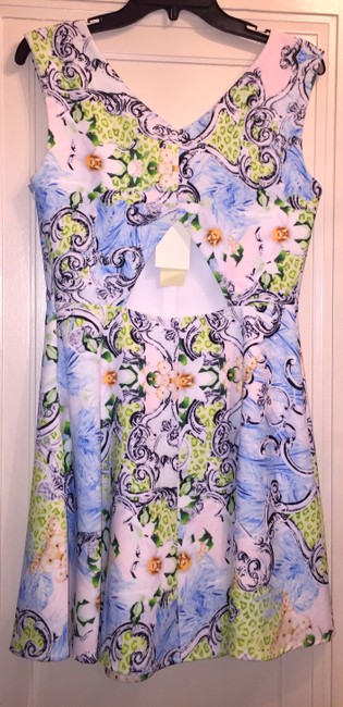 MM Couture short dress Blue, White, Black Green Multi-Floral Wedding Wedding on Tradesy Image 1