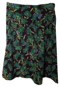 Sag Harbor Skirt Black with Green and Blue Floral Print