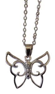 Other White Gold Rhodium Over Sterling Silver Butterfly Neckalce