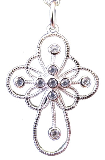 Other White Gold Rhodium Over Sterling Silver CZ Cross Charm Necklace