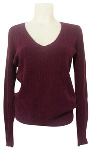 J.Crew Fuschia Maroon Cable Knit Sweater