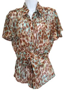 Ikito Print Semi-sheer Silk Top