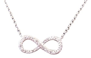 White Gold Rhodium Over Sterling Silver CZ Infinity Necklace