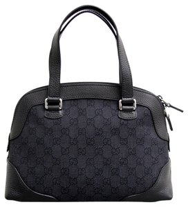 Gucci Gg Canvas Leather Top Tote