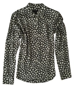 J.Crew Button Down & White Patterned Hearts Silk Shirt 2 Xs Work Wear Stylish Top Black
