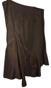 H&M Green Silk Skirt olive green