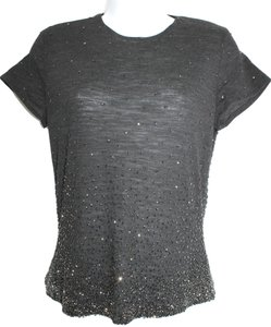 Ellen Tracy Linda Allard Embellished Sequin Dark Gray Wool Top