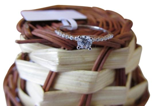 Other White Gold Rhodium Over Sterling Silver CZ Ring Size 7