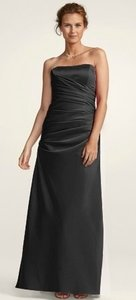David's Bridal Black Satin Strapless Ruched Ball Gown Style-f13974 Formal Bridesmaid/Mob Dress Size 8 (M)