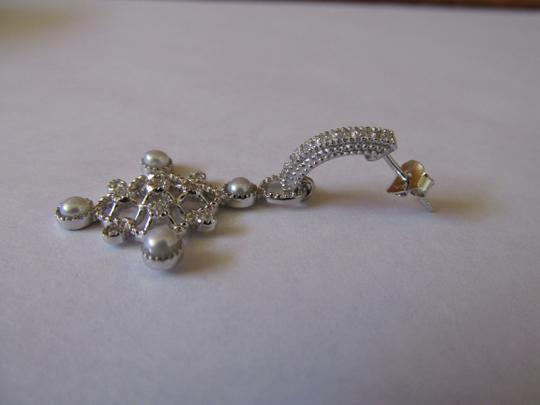 Other Sterling Silver CZ and Synthetic Pearls Dangling Earrings