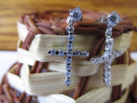 Other White Gold Over Sterling Silver CZ Cross Earrings