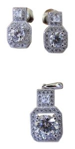 925 Sterling Silver CZ Earrings and Pendant Set