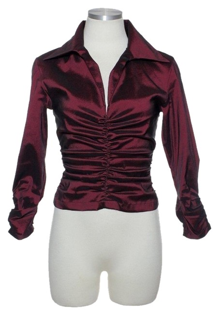 Preload https://item3.tradesy.com/images/tadashi-shoji-ruched-stretch-top-maroon-4243597-0-0.jpg?width=400&height=650
