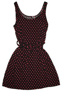H&M short dress Black with Hot Pink Polk Dots on Tradesy