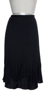 Magaschoni Accordion Pleat Stretch Wool Skirt Black