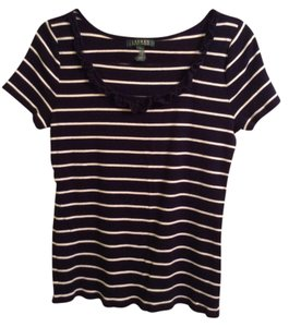 Lauren Ralph Lauren 100% Cotton Top Navy Blue & White