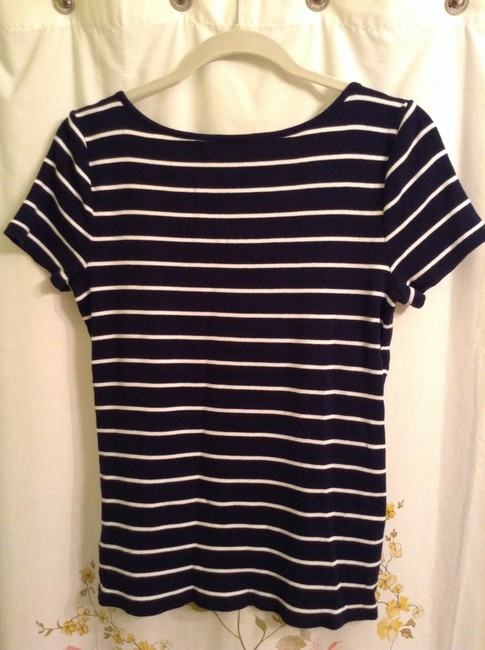 Lauren Ralph Lauren Cotton Top Navy Blue & White