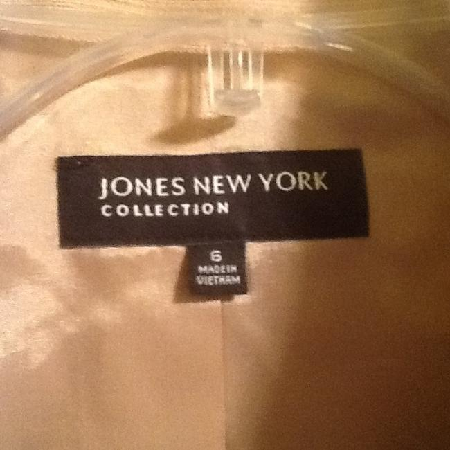 Jones New York Designer Brown Trim Gold Hardware Zipper Slub Weave Size 6 Motorcycle Jacket