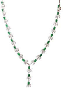 Natural Emerald and Zircon 925 Sterling Silver Necklace