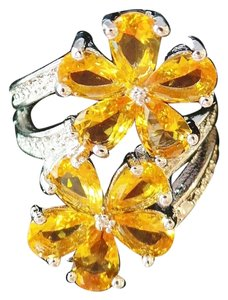 Other Golden Quartz, Flower 925 Sterling Silver Ring SZ 6.0