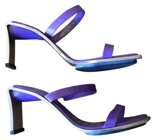 Charles Jourdan Metal Leather Slides Purple Sandals