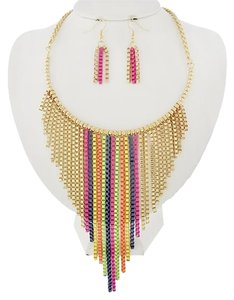 PARATI Gold Tone Multi Color Necklace and Earrings