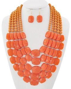 DaVinci Bridal Orange Acrylic Necklace and Earrings