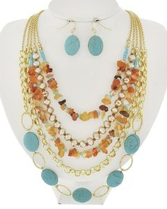Other Turquoise Stone Brown Glass Necklace and Earrings