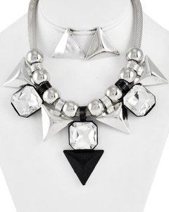 MISS C. Clear Glass & Black Color Necklace & Post Earring