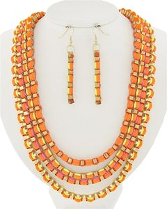 DaVinci Neon Orange & Yellow Cord Necklace & Earrings