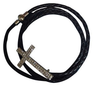 Leather band with crystal cross crystal cross bracelet